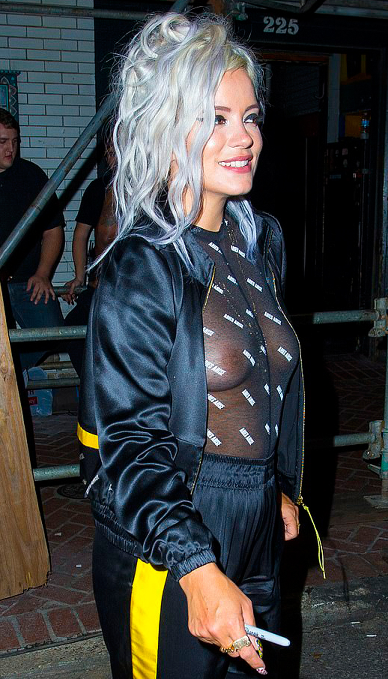 Lily Allen Goes Out Braless in Completely See Through Top