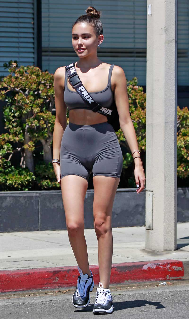 Madison Beer Serious Cameltoe in Workout Gear
