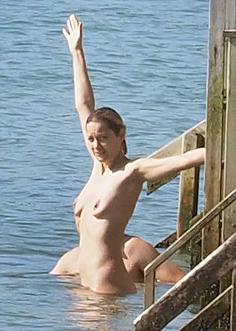 Marion Cotillard Skinny Dipping in the Lake