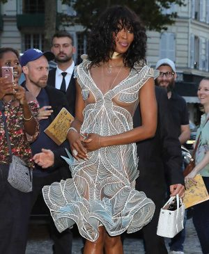 Naomi Campbell Nip Slip at Fashion Show in Paris