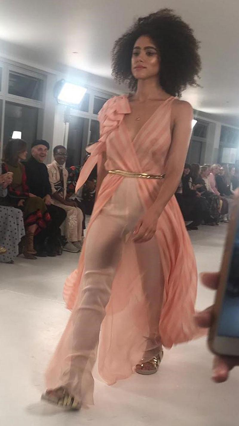 Natalie Emmanuel Nipples in See Through Blouse
