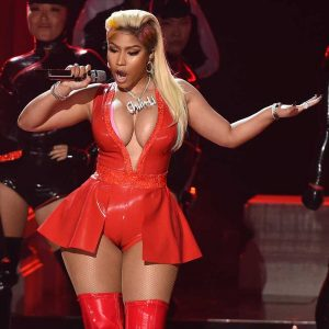 Nicki Minaj Serious Cameltoe in Red Latex