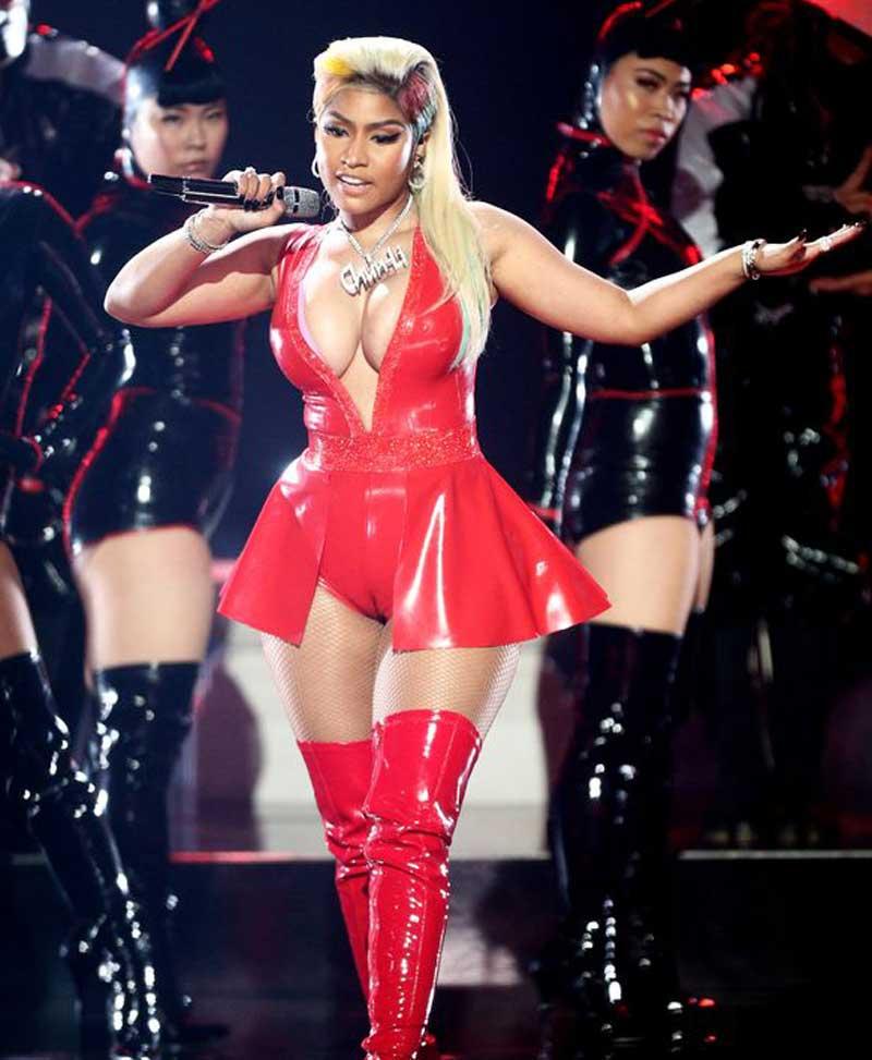 Nicki Minaj Serious Cameltoe in Red Latex