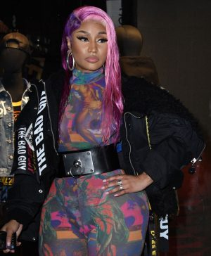 Nicki Minaj Boobs in See Through Jumper