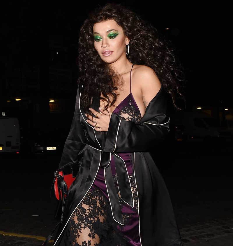 Rita Ora Nipple Peek in Silk Slip Dress