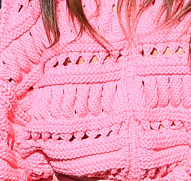 Sara Sampaio Nipple Peek in Thick Pink Sweater