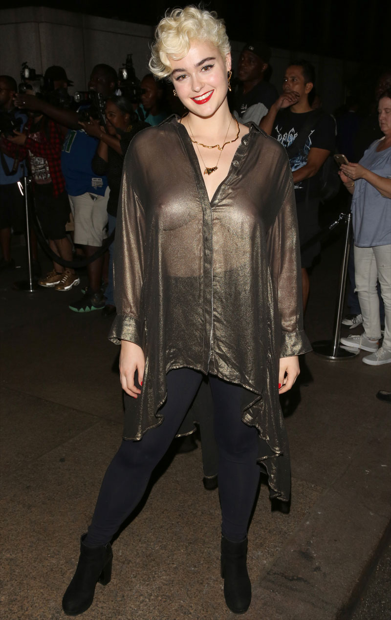 Stefania Ferrario Braless in Sheer Long Shirt
