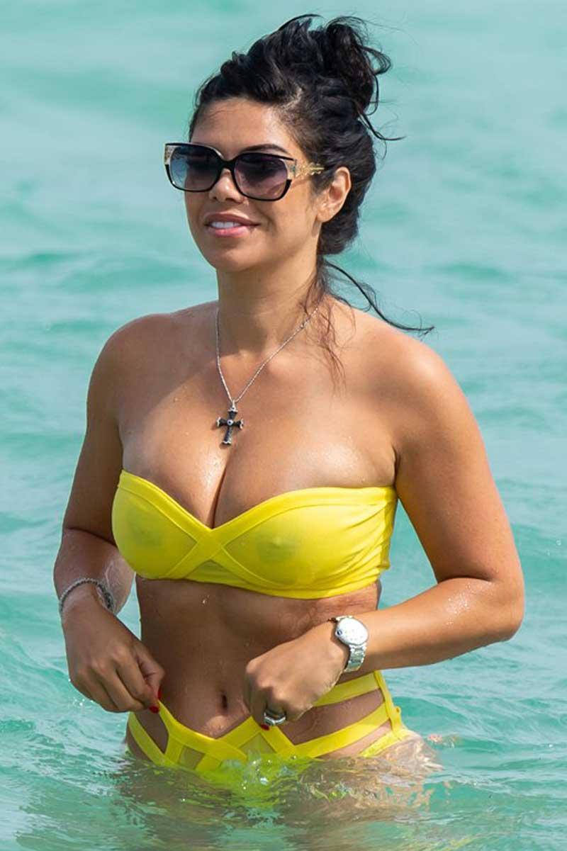 Suelyn Medeiros Brown Nipples in Wet Yellow Bikini