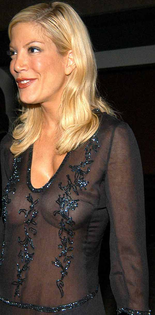 Tori Spelling, A See Through Tit Shot Makes For A Continuing Fashion Trend. Thanks To Oknis!