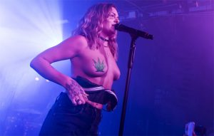 Tove Lo Topless with Weed Pasties on Stage
