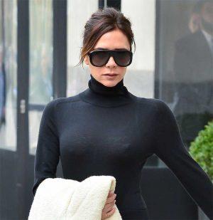 Victoria Beckham Nipple Pokies in Tight Black Top