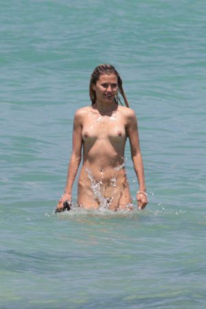Victoria Bonya Caught Skinny Dipping in the Surf