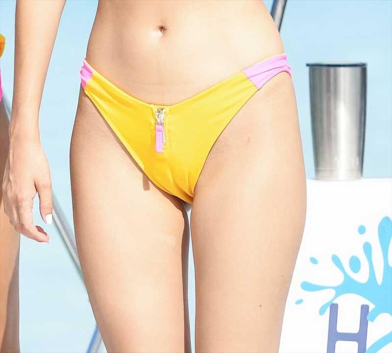 Victoria Justice Cameltoe in Yellow Bikini