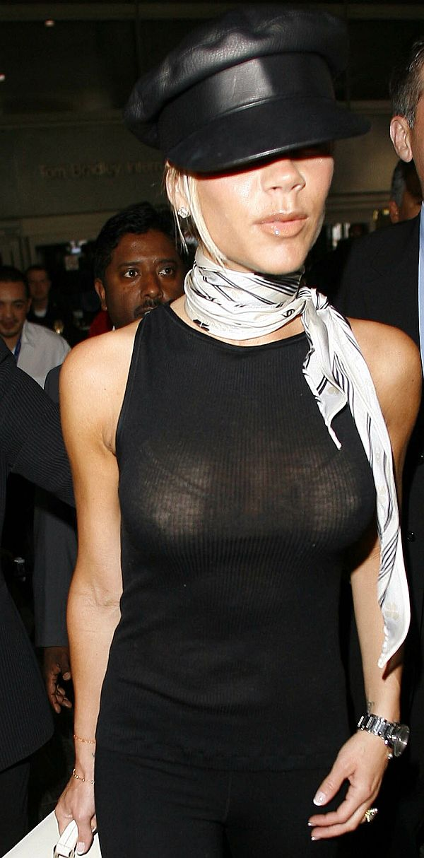 Victoria Beckham See Through T-Shirt Exposes Her LARGE Nipples
