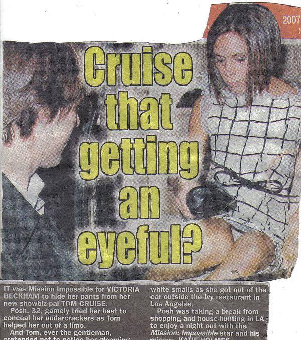 Victoria Beckham Panty Upskirt With Tom Cruise Looking On?