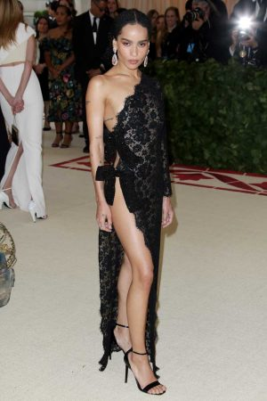 Zoe Kravitz Nipples in Lace Dress at the Met Gala