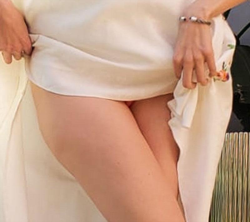 Blanca Blanco Tiny Pink Pantie Upskirt