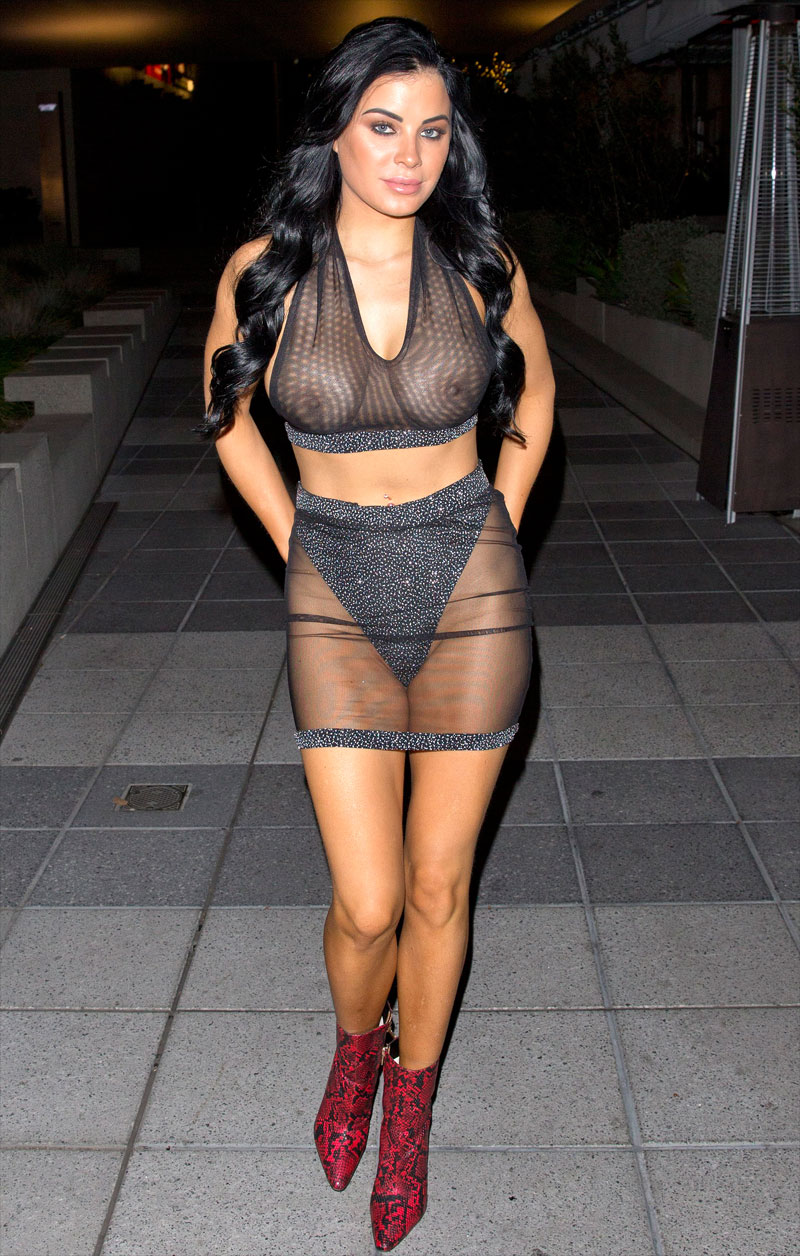 Carla Howe Goes Out in No Bra and a See Through Top