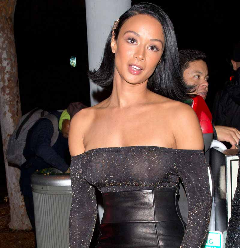 Draya Michele Braless Breasts in her See-Through Black Dress