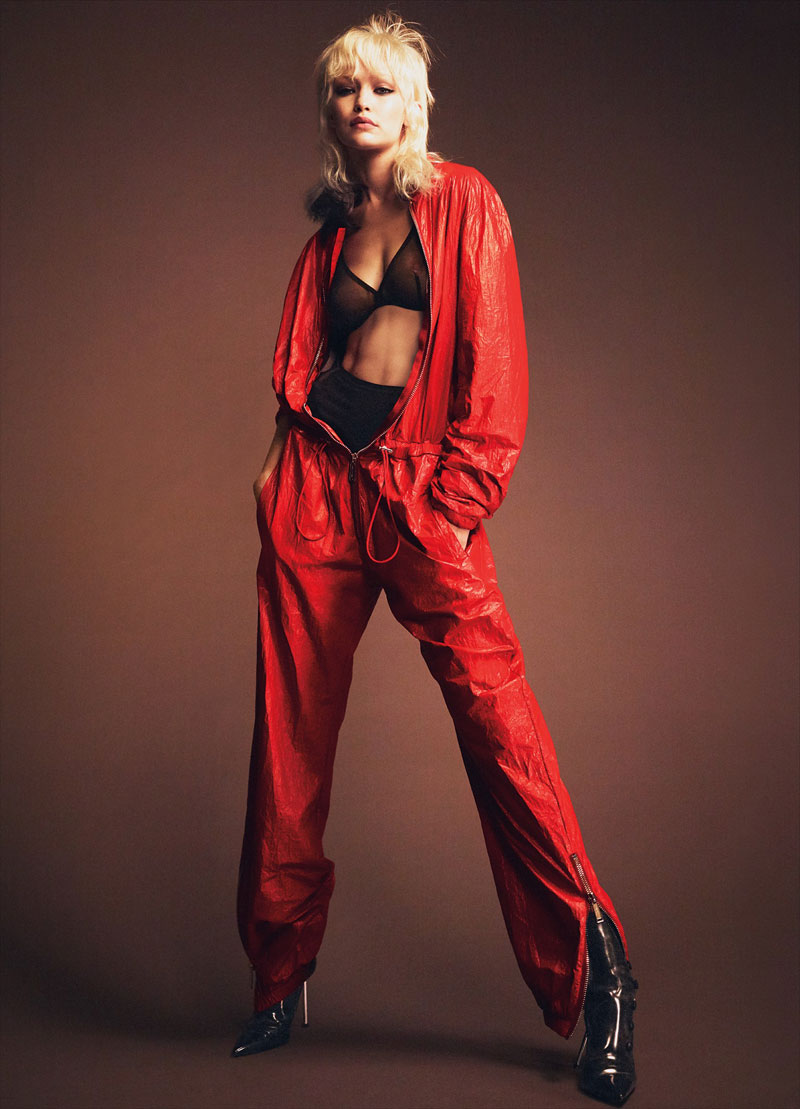 Gigi Hadid Nipple in Sheer Red Bra for W Magazine
