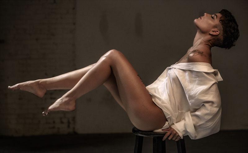 Halsey Poses for TMRW Magazine in a Wet Tee