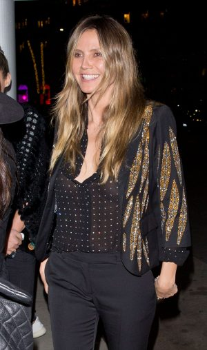Heidi Klum Braless in See-Through Blouse