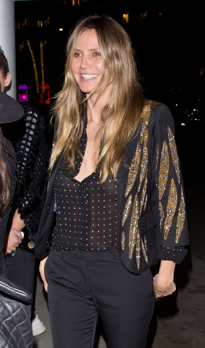 Heidi Klum Braless in See-Through Blouse