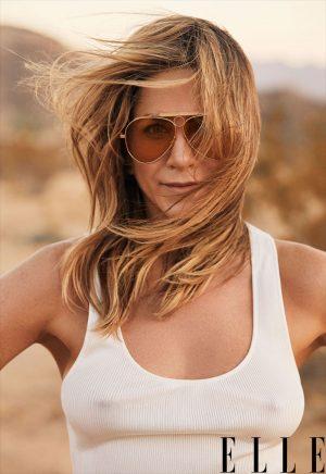 Jennifer Aniston Nipple Pokies for Elle Magazine
