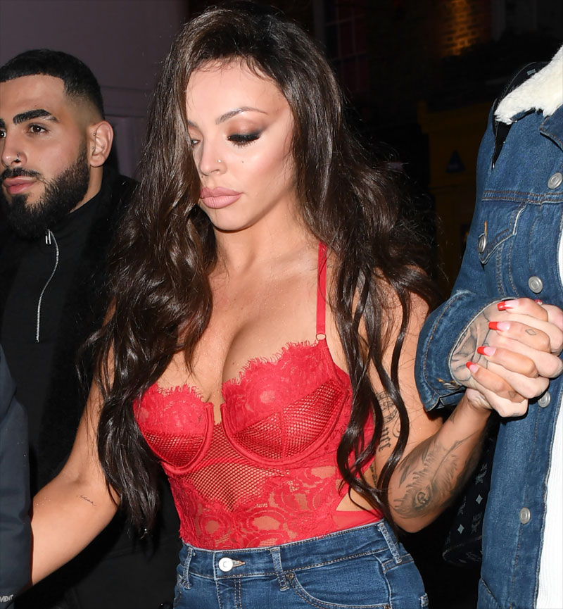 Jesy Nelson Wearing a See Through Red Lace Corset