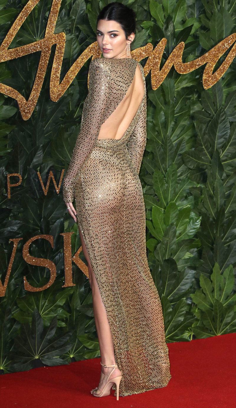 Kendall Jenner Braless & Thong Show in See Through Gown
