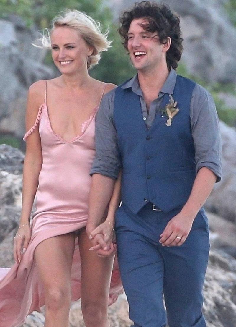 Malin Akerman Pink Pantie Upskirt at her Wedding