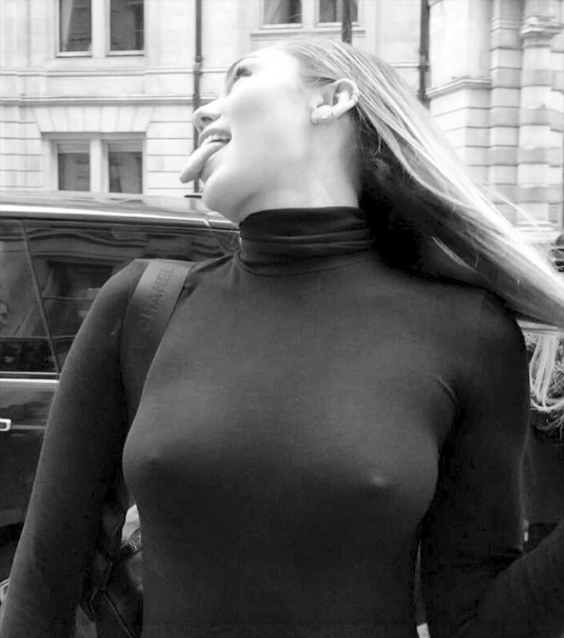 Miley Cyrus Braless in Super Tight Turtleneck