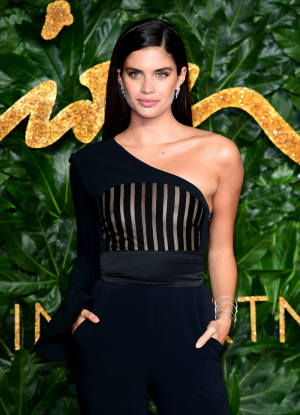 Sara Sampaio Not Wearing her Bra in Windowed Dress
