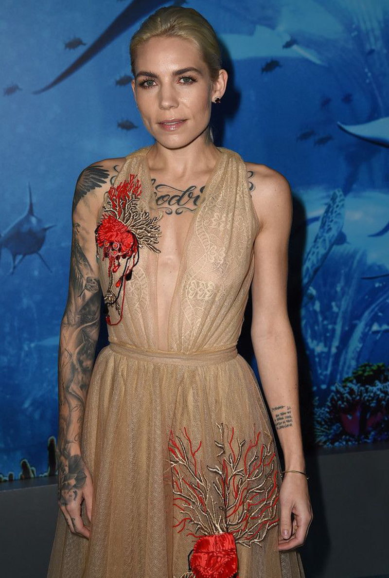 Skylar Grey Boobs in Sheer Dress on the Red Carpet