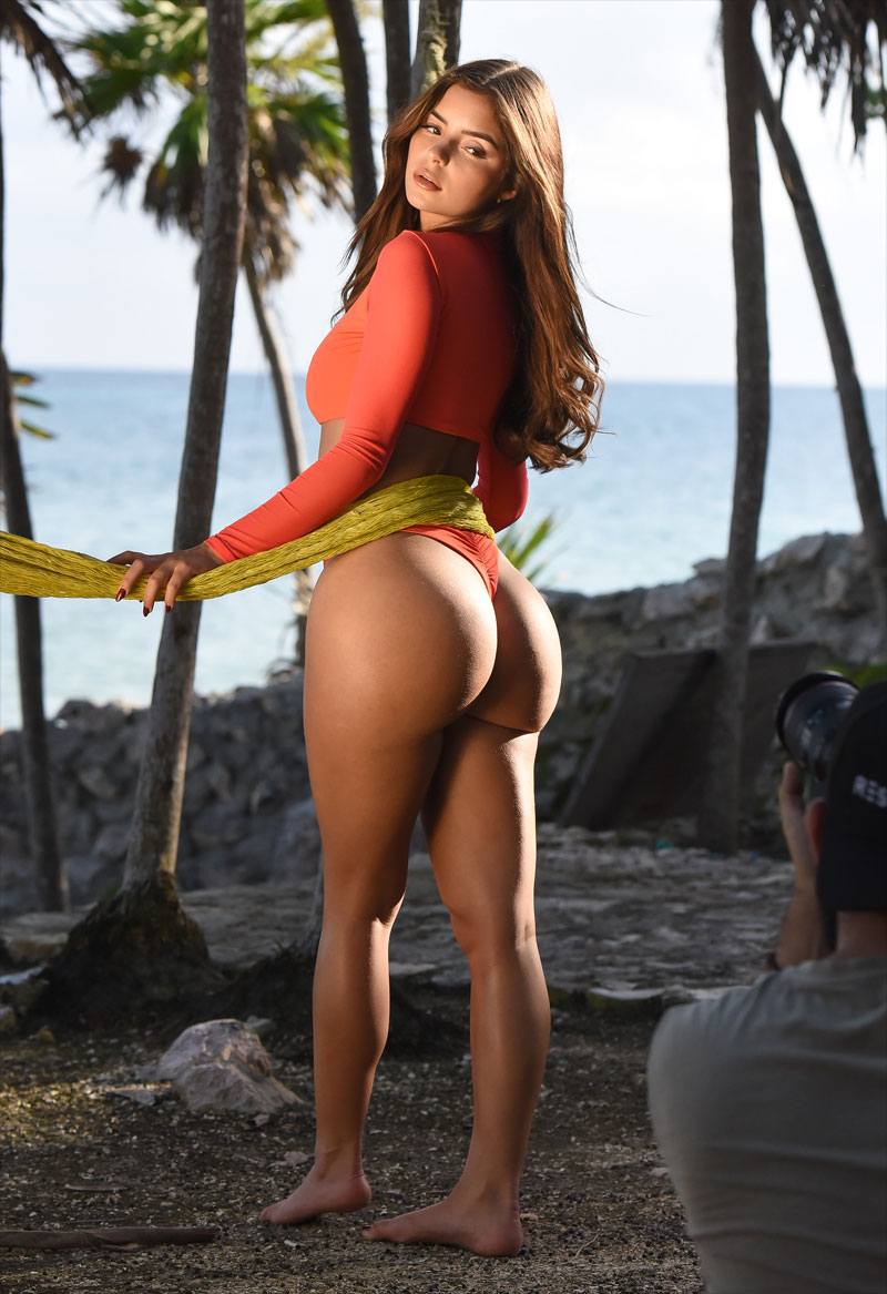 Demi Rose Posing in Orange Bikini Set