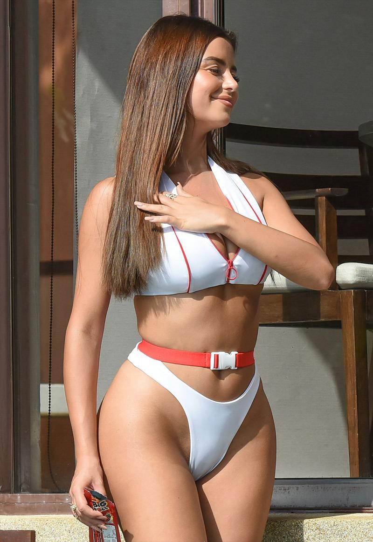Demi Rose Cameltoe in White Swimsuit