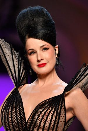 Dita Von Teese Boobs in Lace Dress on the Runway