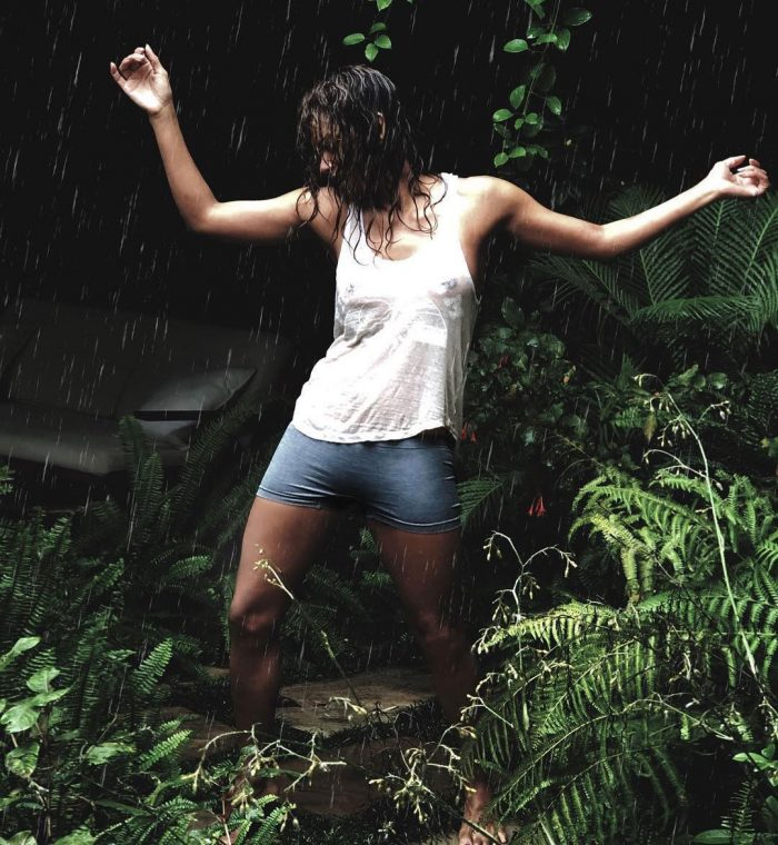 Halle Berry Dancing in the Rain in a Wet T-Shirt
