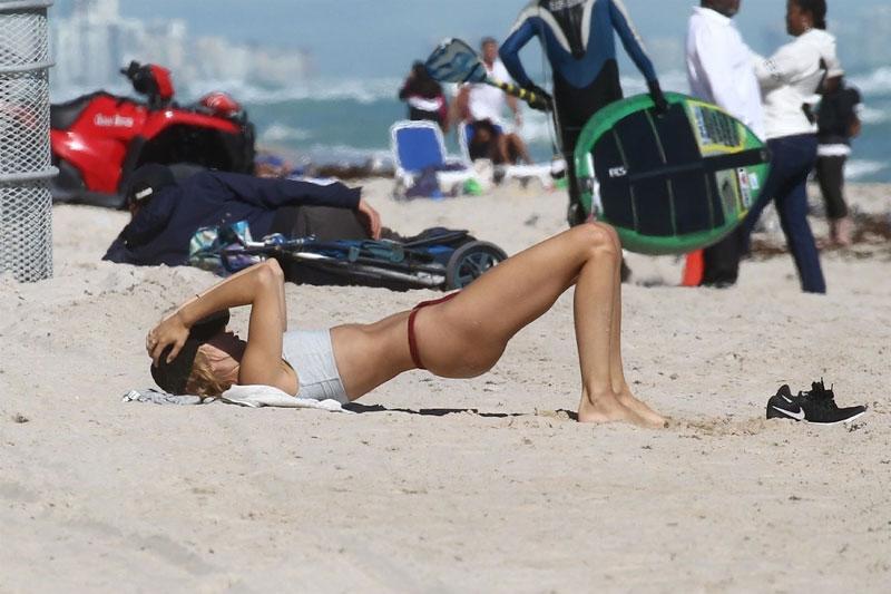 Kimberley Garner Bikini Bottom Workout on the Beach