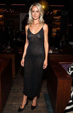 Lady Victoria Hervey Braless in Black Sheer Dress
