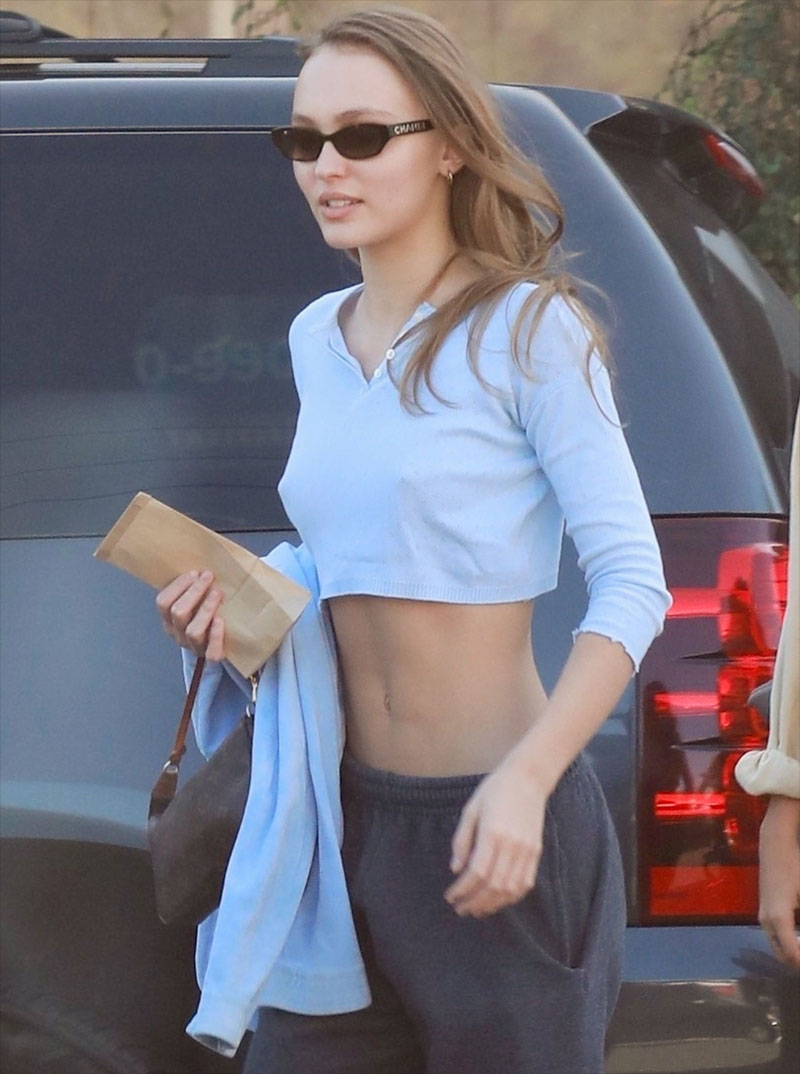 Lily Rose Depp Pokies in a Belly Shirt