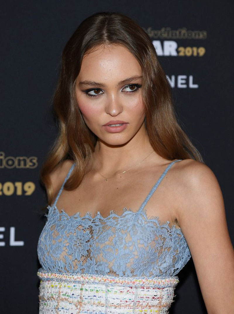 Lily Rose Depp Nipples in See-Through Lace Dress