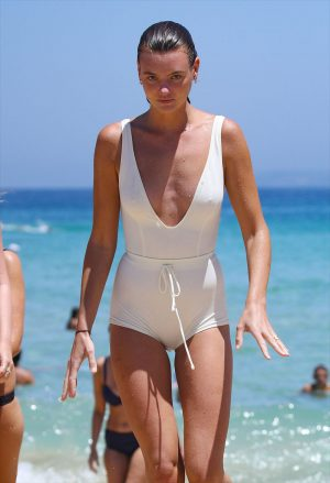 Montana Cox Wet Pokies in White Swimsuit