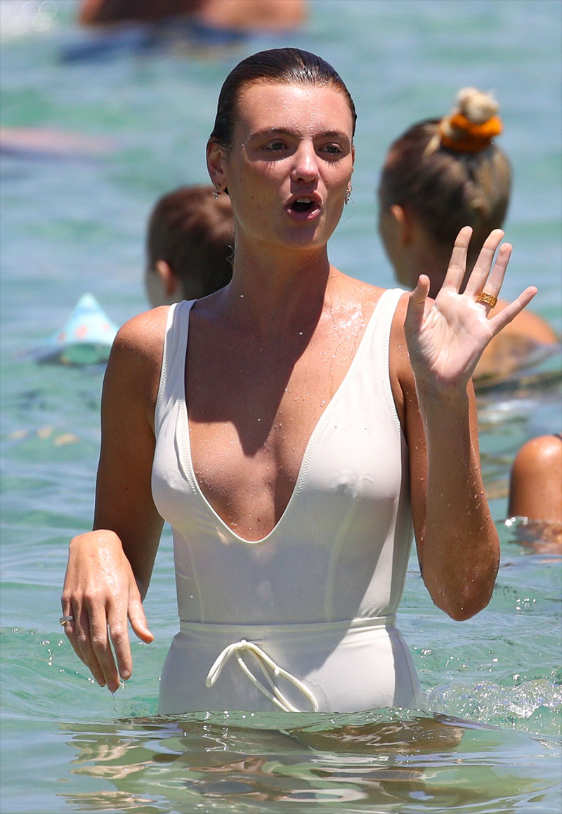 Montana Cox Wet Pokies in White Swimsuit