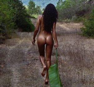 Shanina Shaik Posing Nude in Nature
