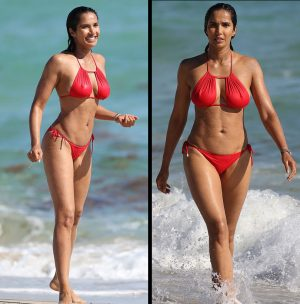 Padma Lakshmi Wet Red Bikini