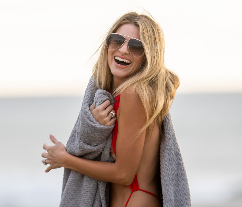 Rachel McCord Nipple Slip in Red Monokini
