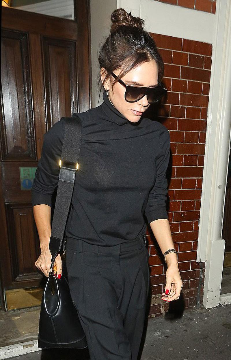 Victoria Beckham Pokies in Black Turtleneck