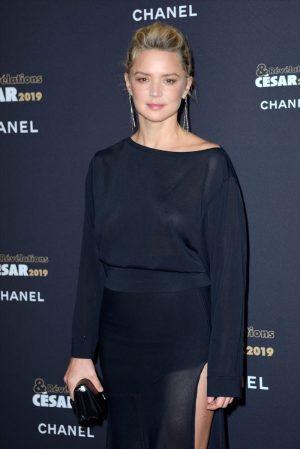 Virginie Efira Braless in Sheer Black Evening Gown