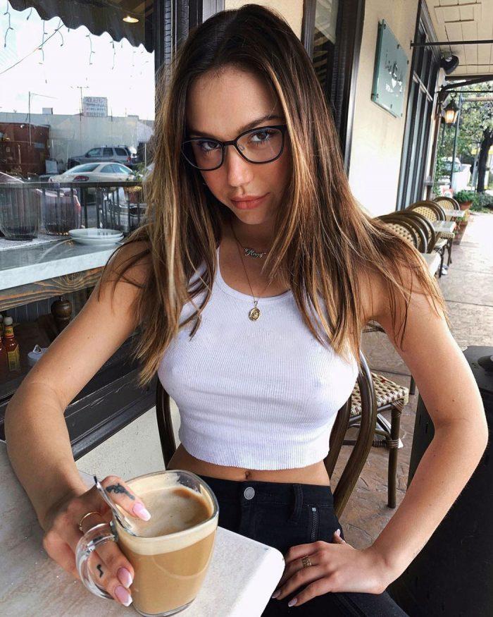 Alexis Ren Enjoys her Morning Coffee Braless